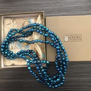 """Honora Cultured pearl 36"""" strand necklace blue"""